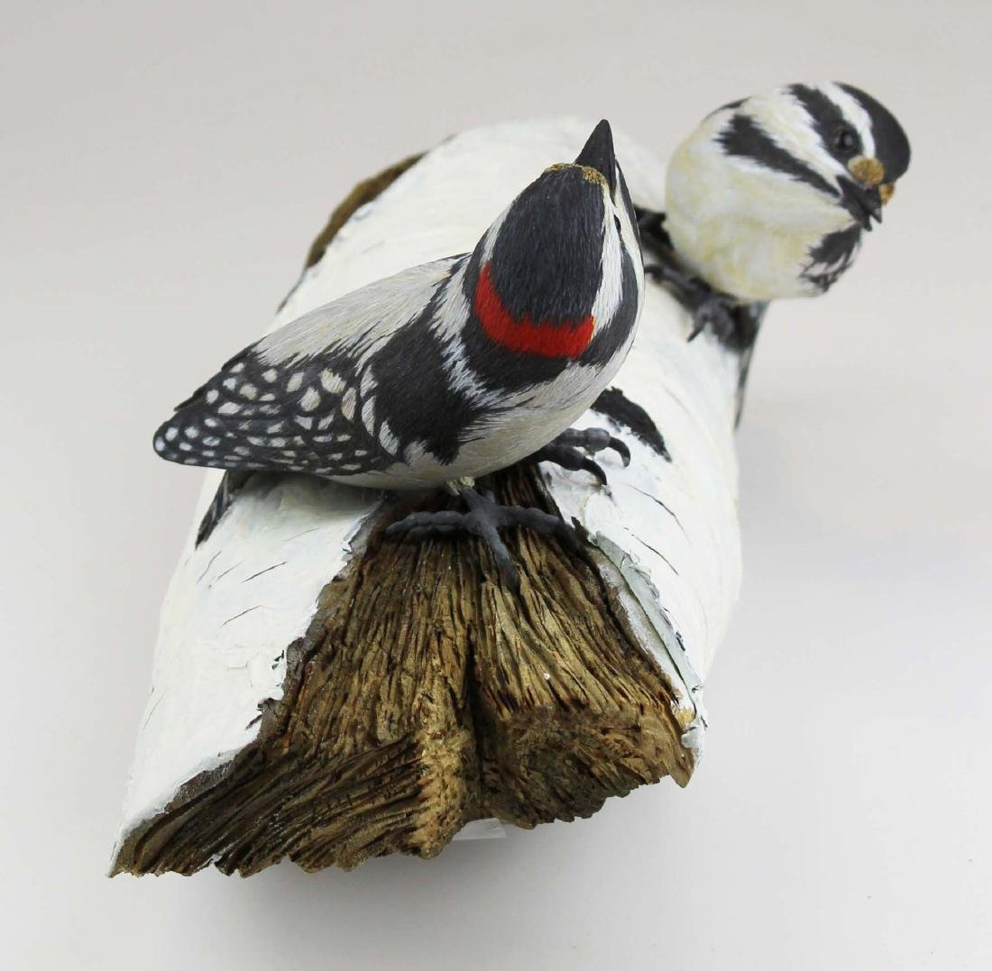 Two carved & painted song birds on birch log - 5