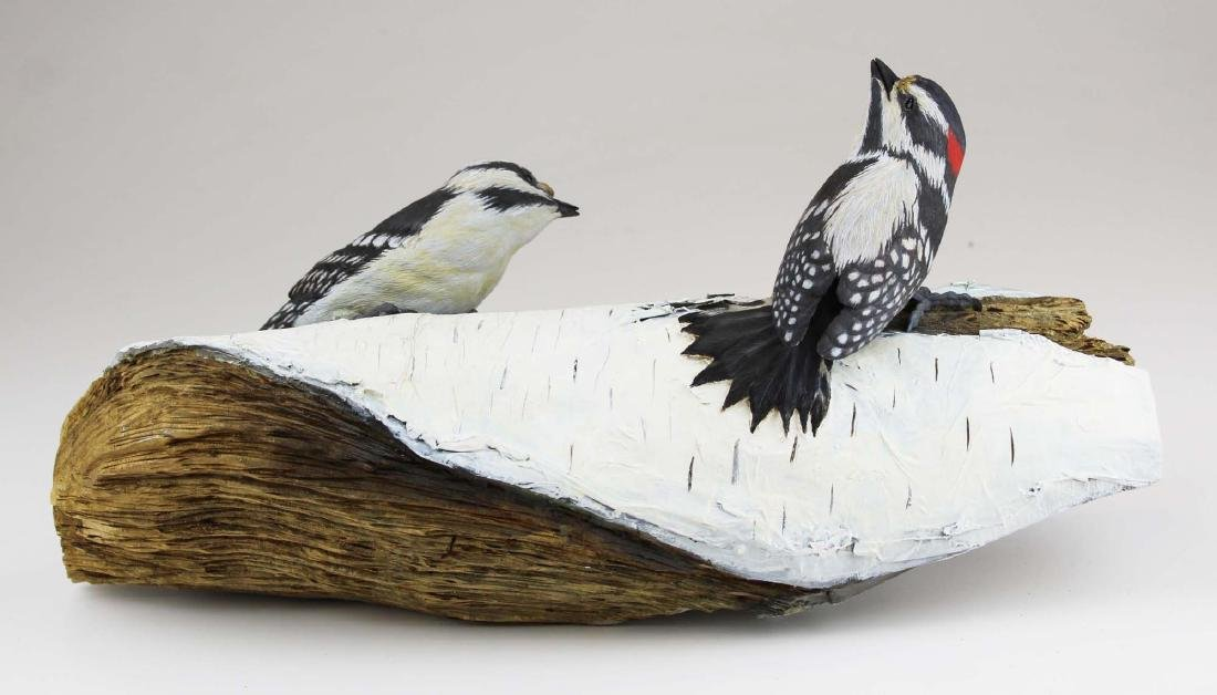 Two carved & painted song birds on birch log - 8
