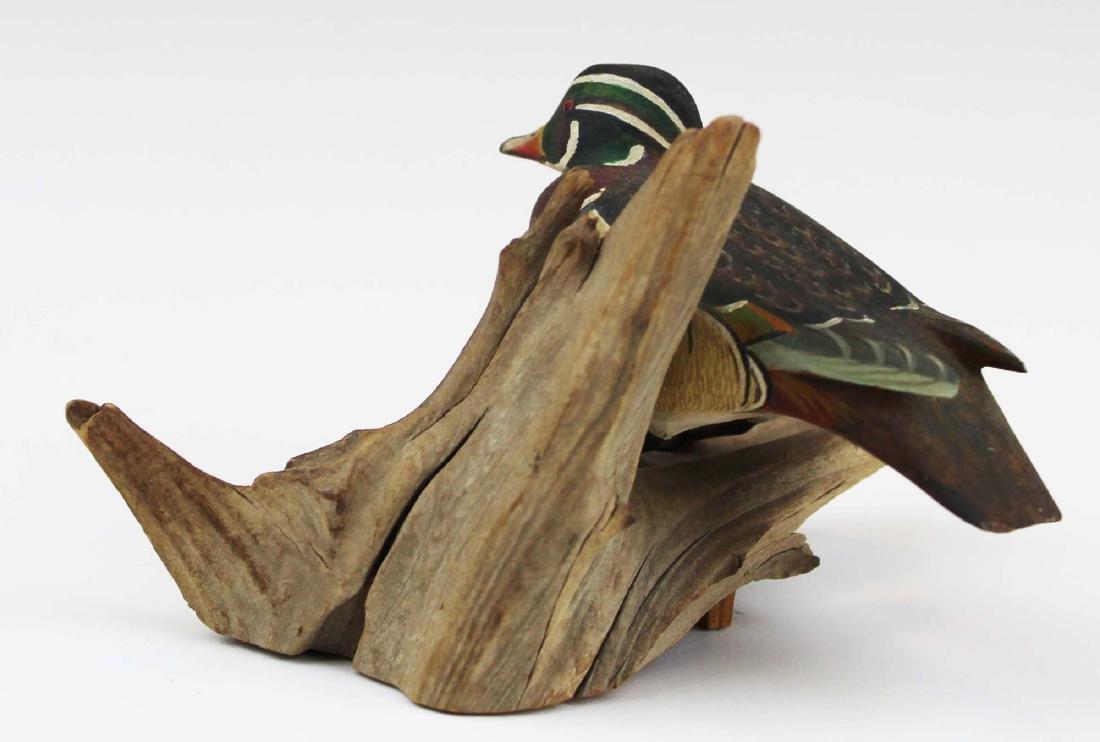 Minature drake wood duck carving - 5