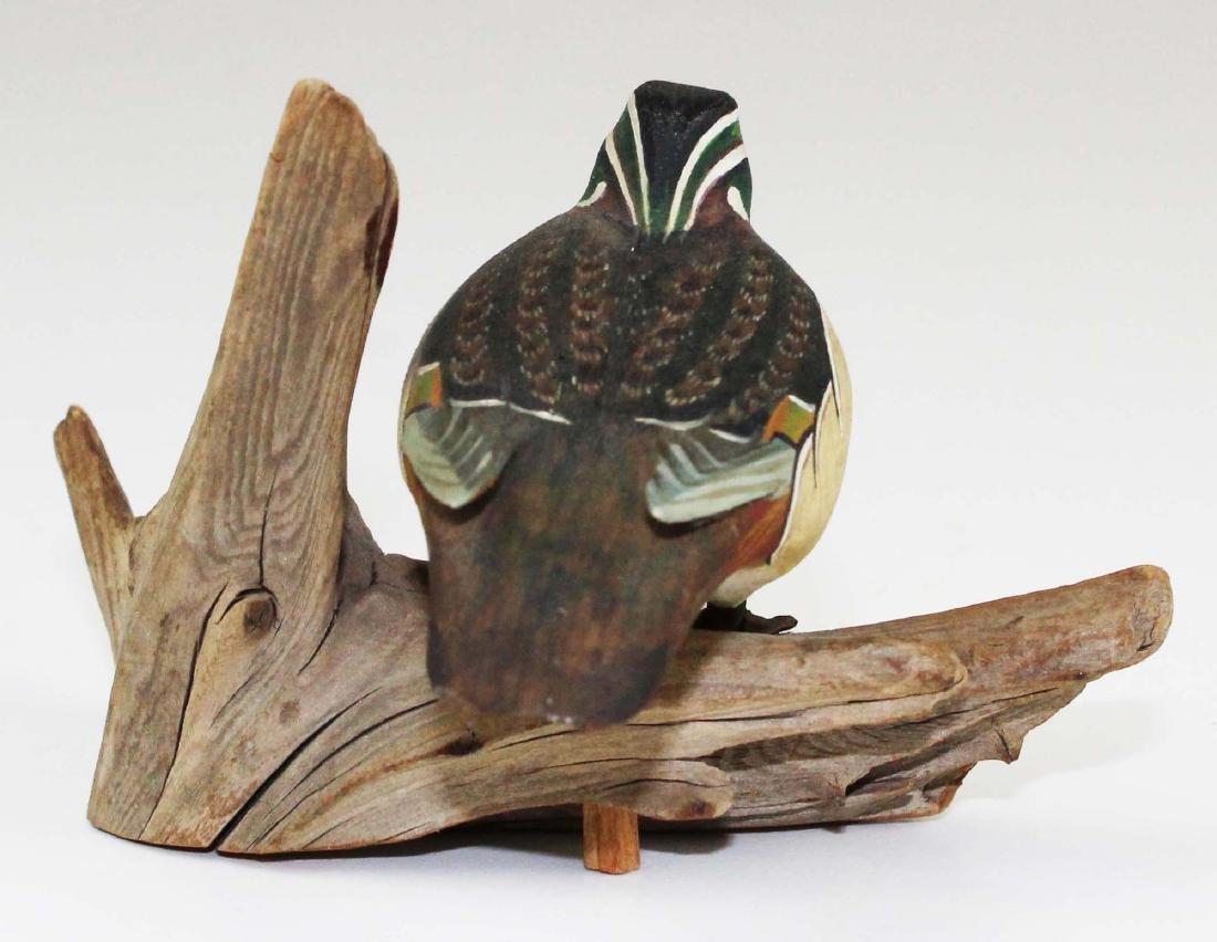 Minature drake wood duck carving - 6