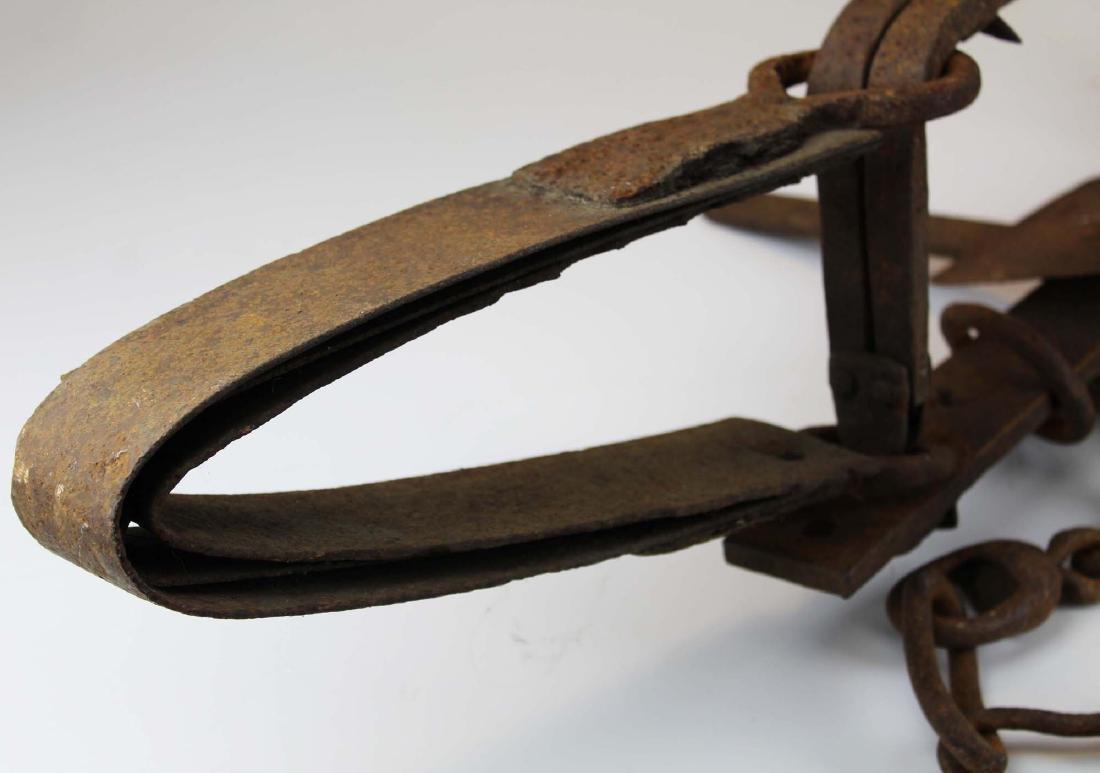 early 20th c steel bear trap - 4