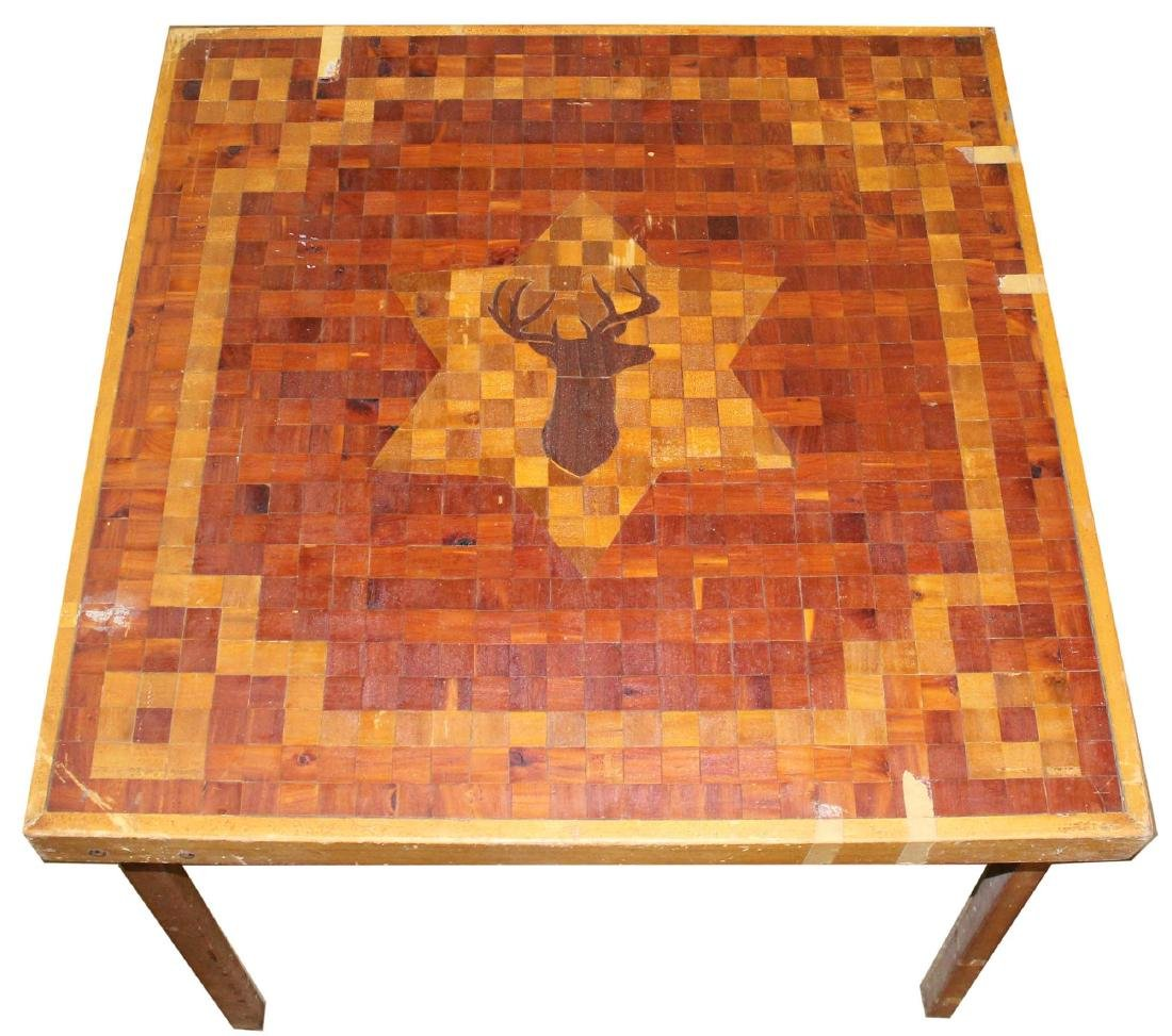 early- mid 20th c hunting camp inlaid card table