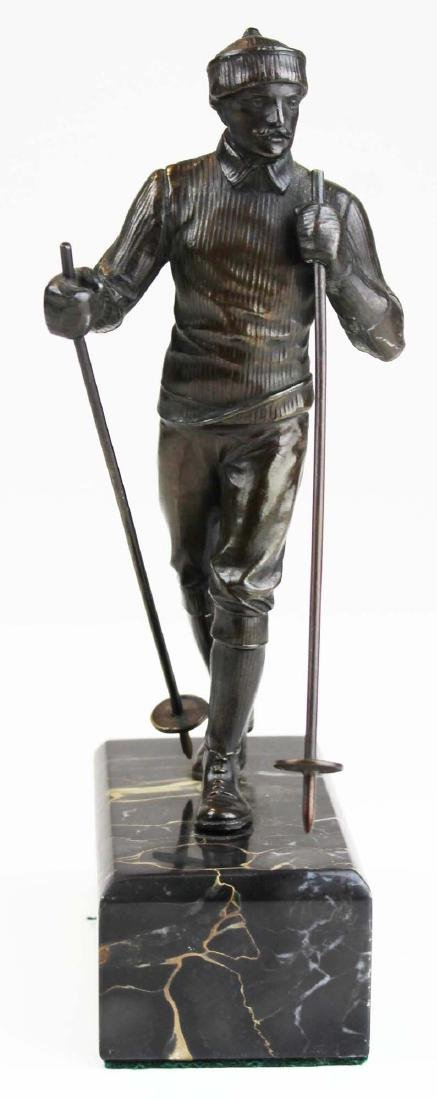 early 20th c Austrian metal sculpture of a skier