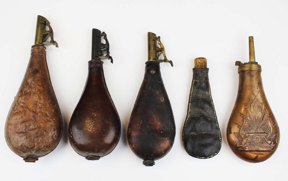 group of five 19th c shot & powder flasks