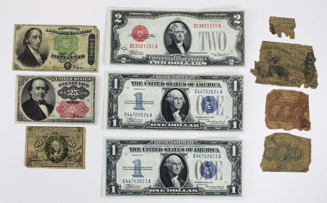 US silver certificates, fractional currency