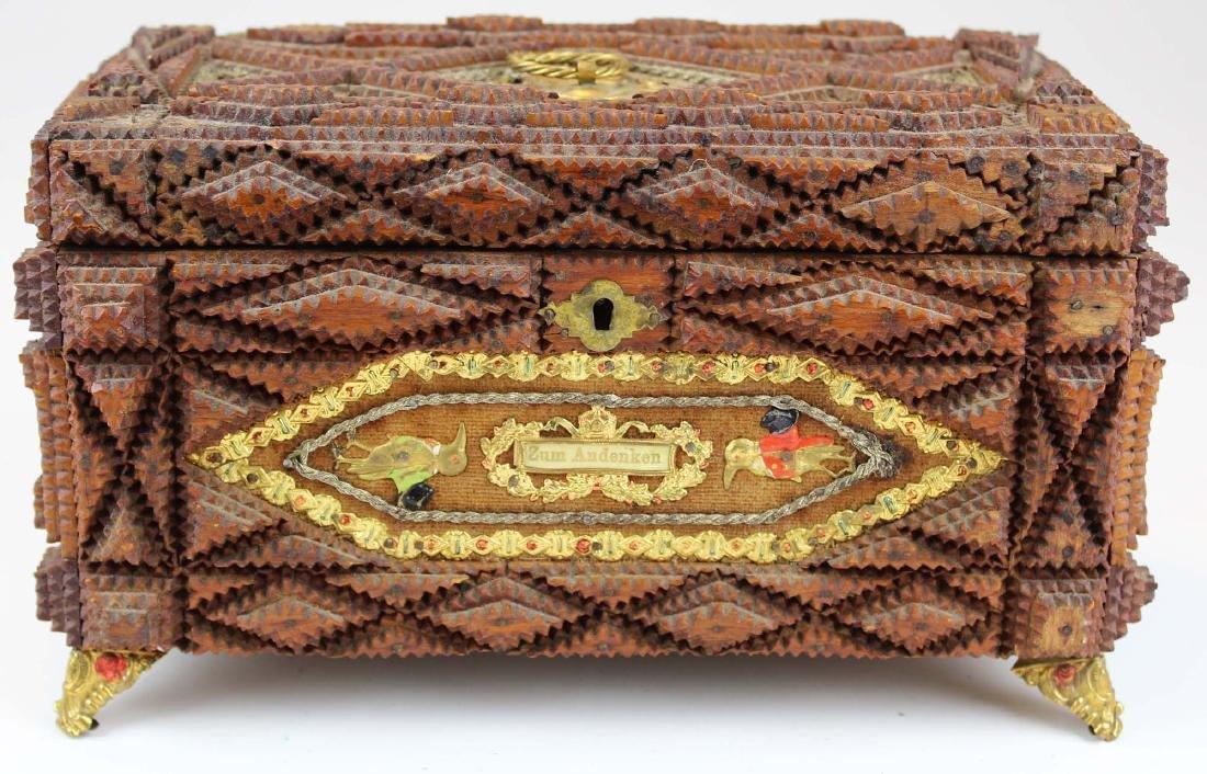 elaborate German tramp art jewelry box