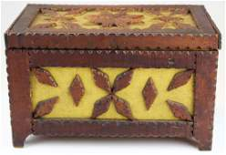 chip carved tramp art box in old yellow paint