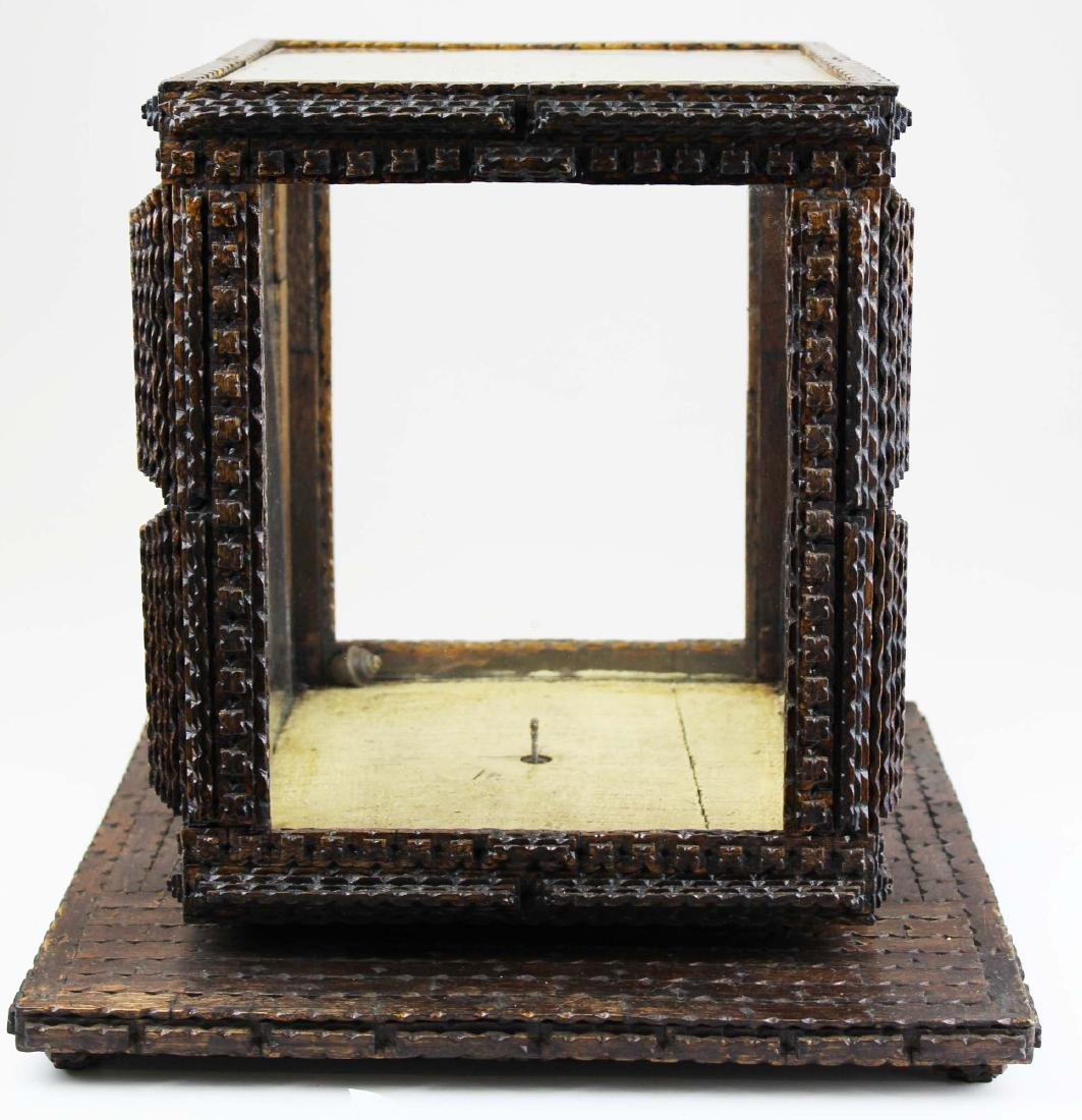 chip carved tramp art revolving display case