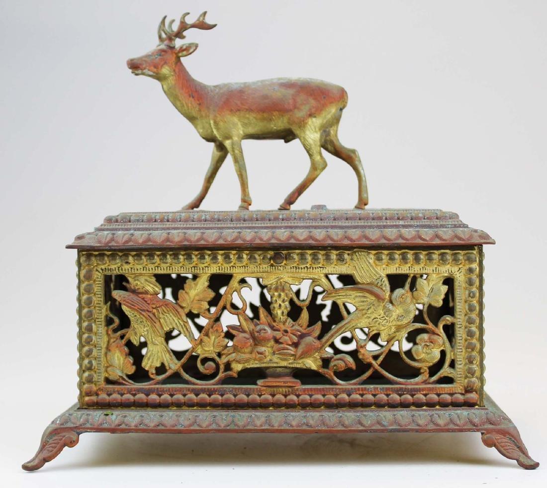 Victorian gilt metal stag figural jewel casket