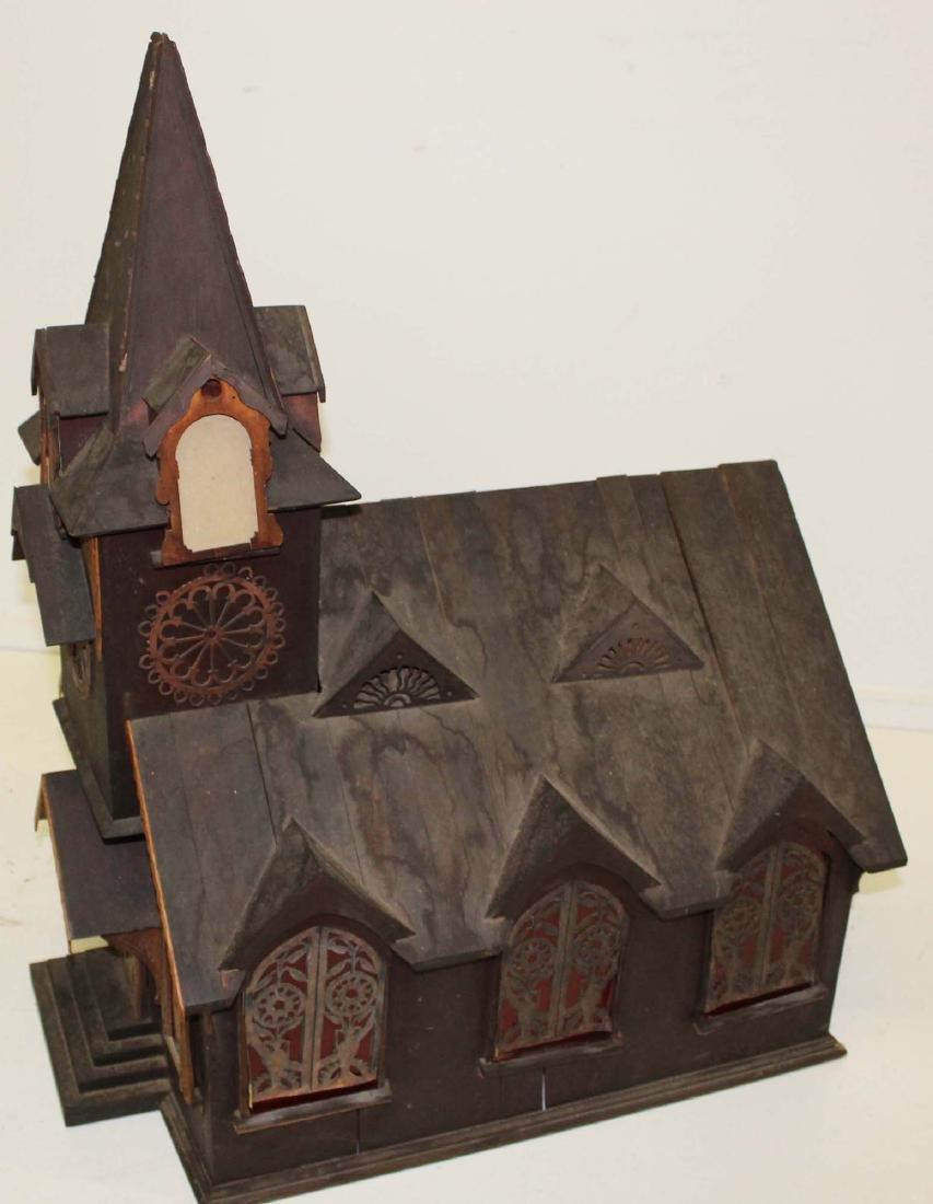 Victorian tramp art country church model - 2