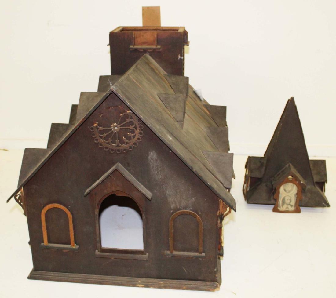Victorian tramp art country church model - 3
