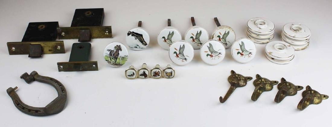mid 20th c hunting theme porcelain doorknobs