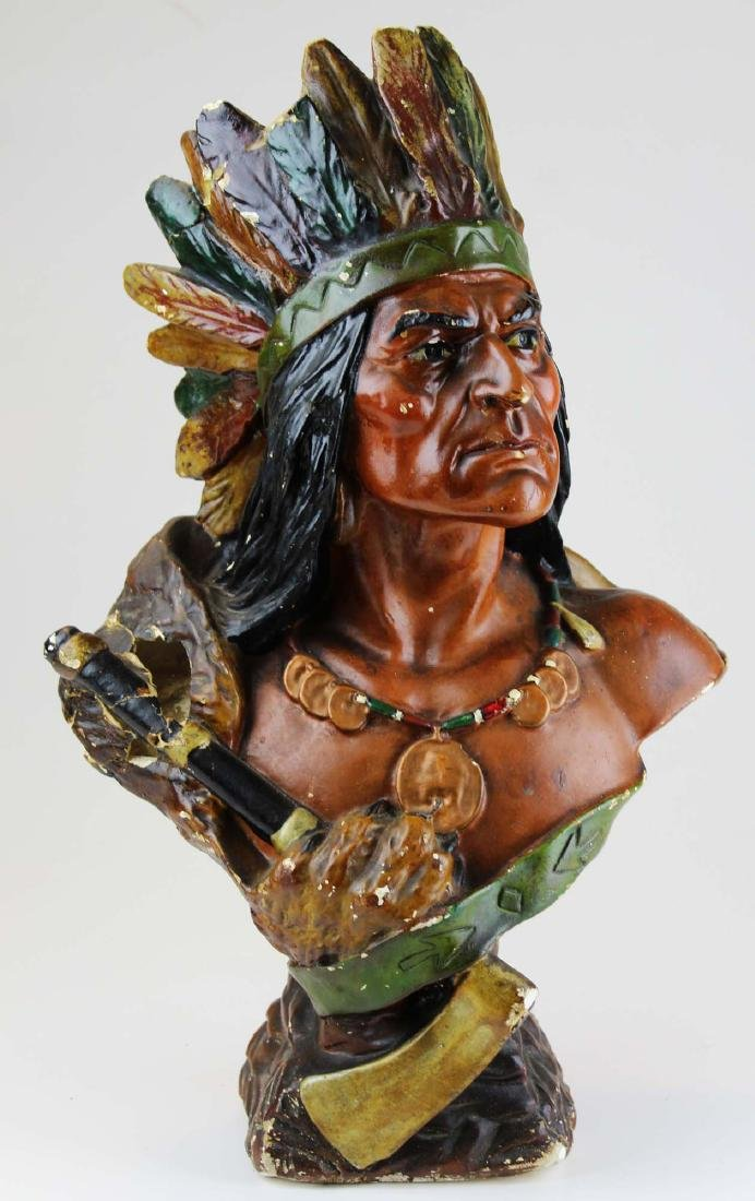 ca 1910 Indian Chief chalkware bust