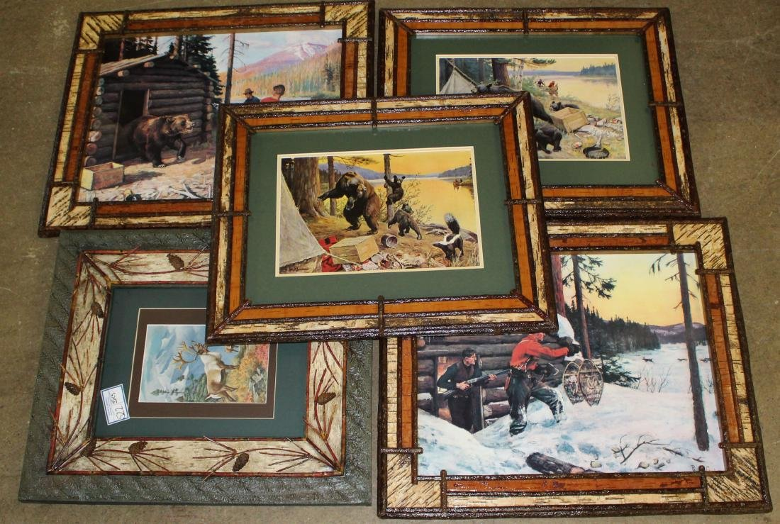 Five Adirondack frames with sporting prints