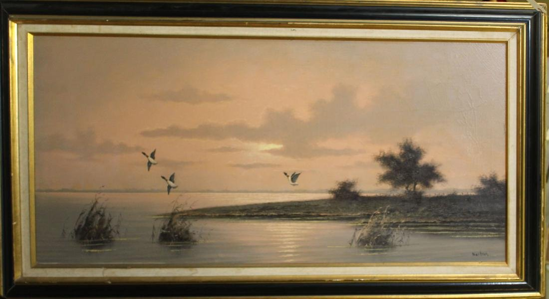 Oil on Canvas sporting scene signed Martens