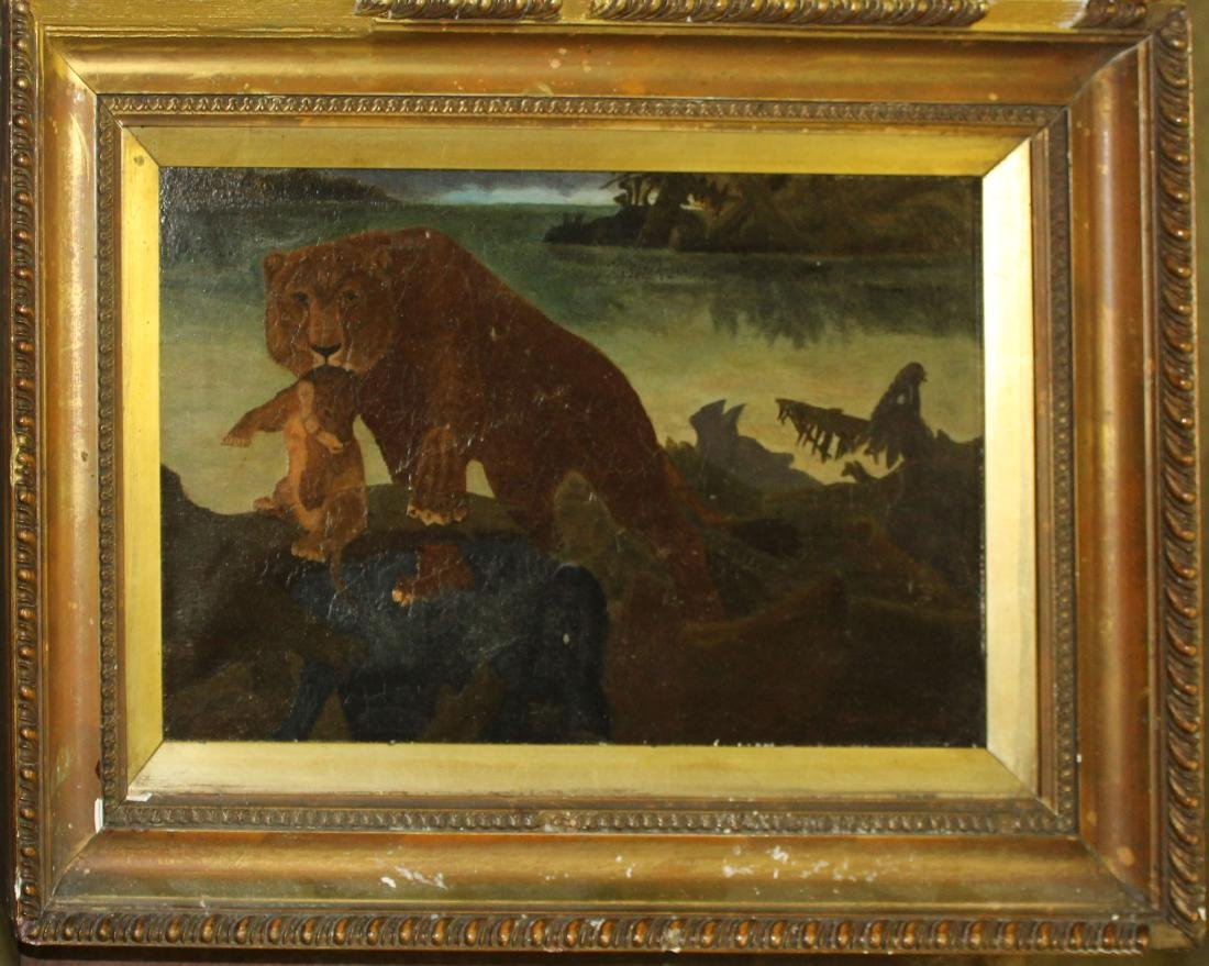 Primitive Oil on canvas of lion