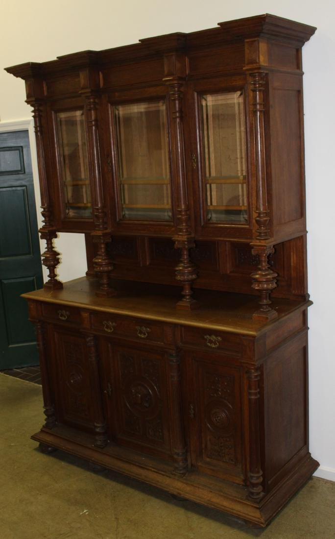 Victorian carved oak 2 part breakfront cabinet