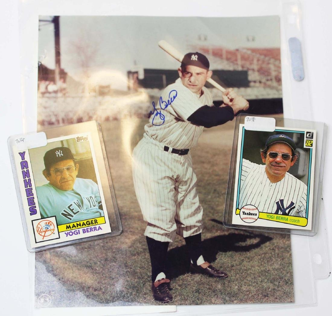 Yogi Berra baseball cards & signed photo