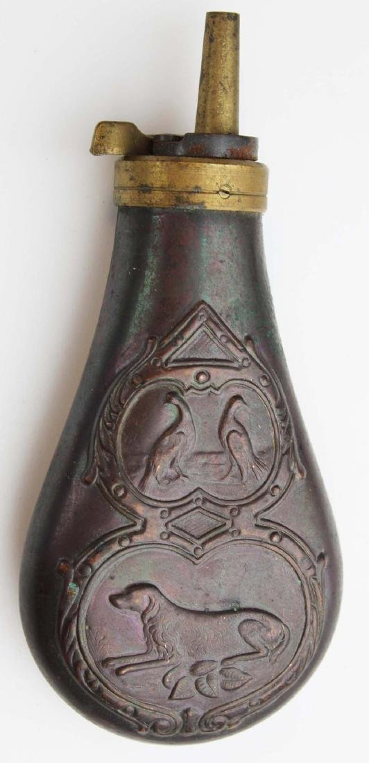 19th c hunting dog & birds powder flask