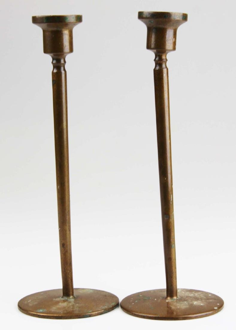 early 20th c Jarvie type bronze candlesticks