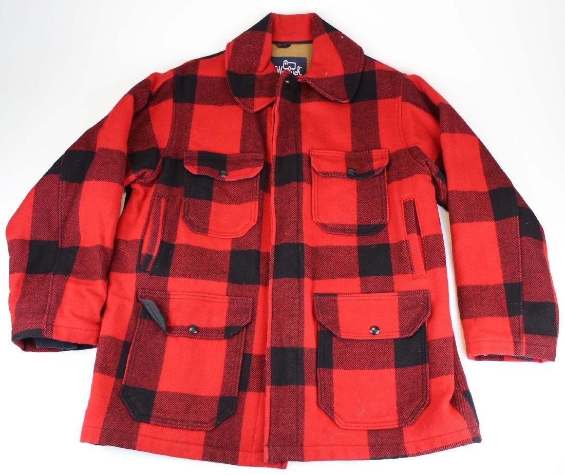 Vintage Woolrich red plaid wool hunting coat