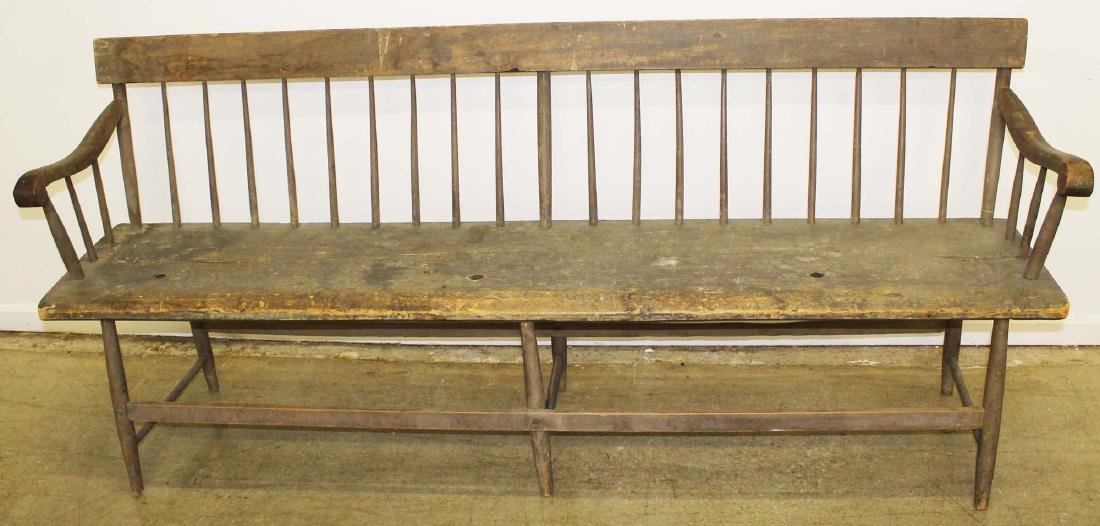 Country deacons bench in old gray paint - 3