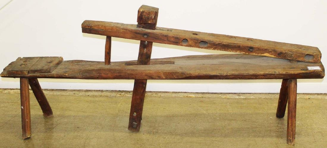 19th c. primitive spokeshave shaving bench