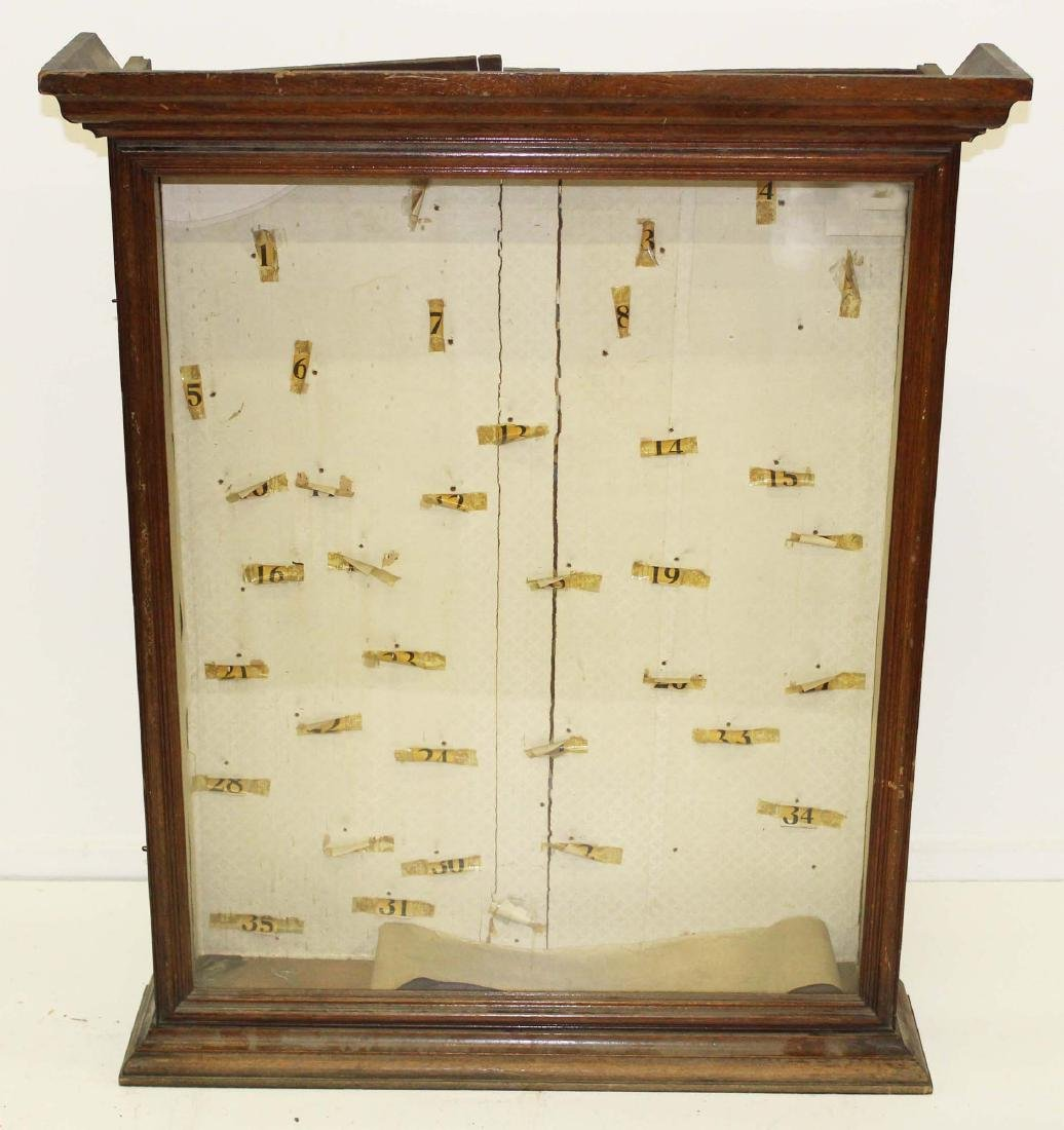 19th c. walnut glass door hanging display case
