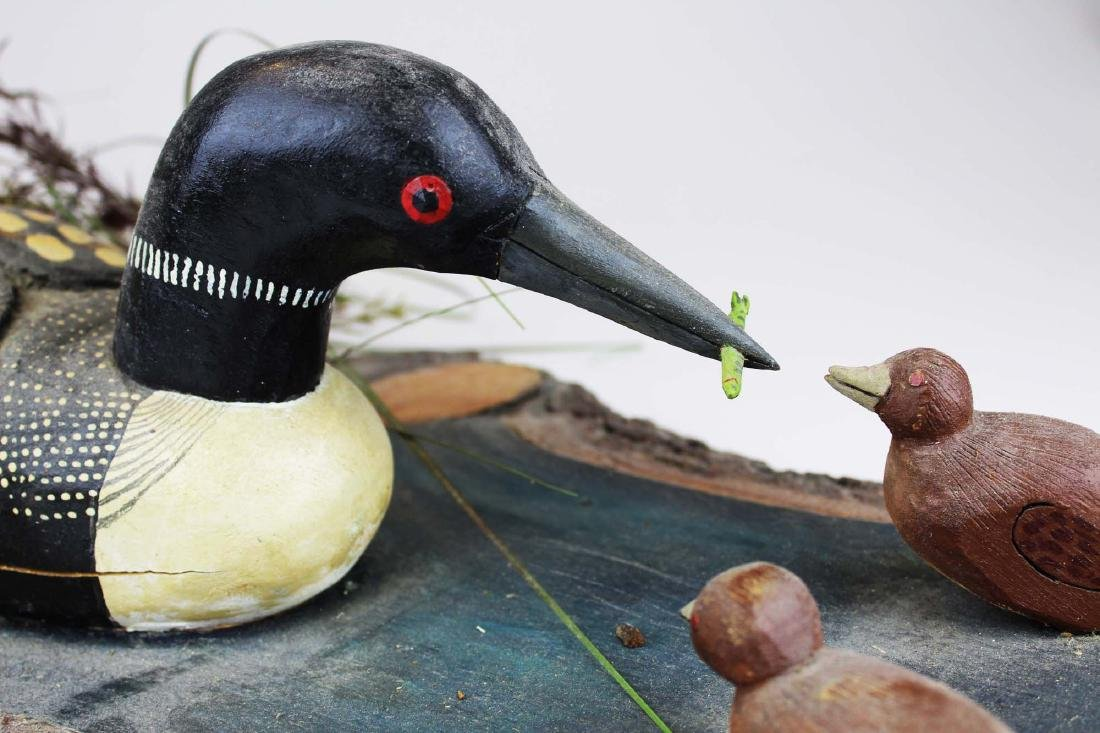 Folk art Loon group by Rupert King Jr - 9