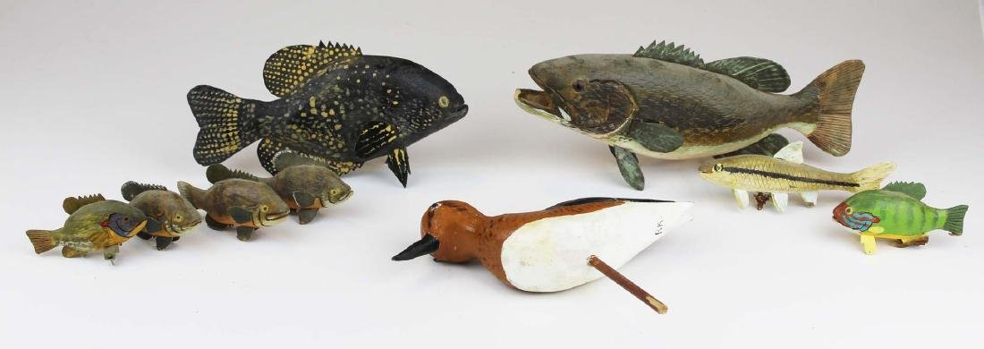 Group of small fish and bird carvings by R King Jr. - 2