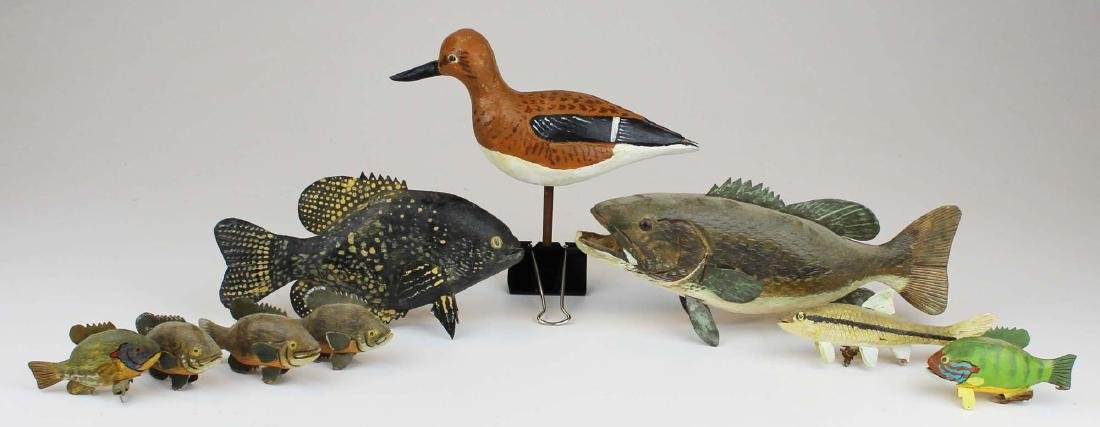 Group of small fish and bird carvings by R King Jr. - 4
