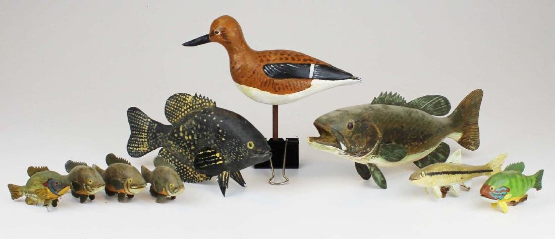 Group of small fish and bird carvings by R King Jr. - 6