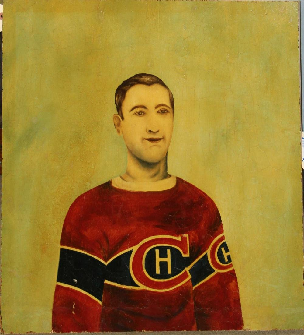 Unusal Folk Art painting of Hockey Player