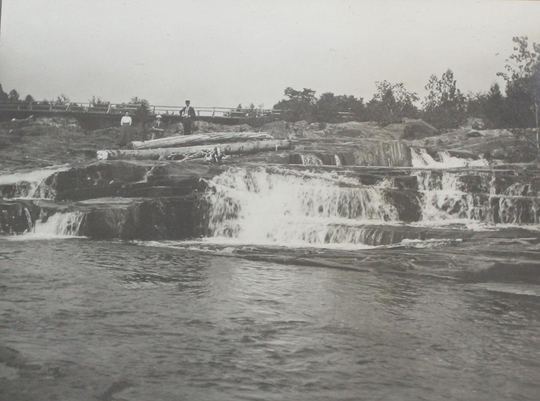 Large 19th c photo of waterfall