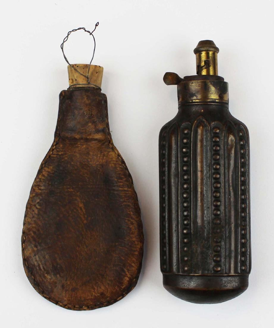 early 19th c brass & copper  powder flask