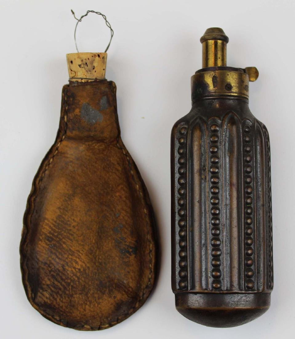 early 19th c brass & copper  powder flask - 2