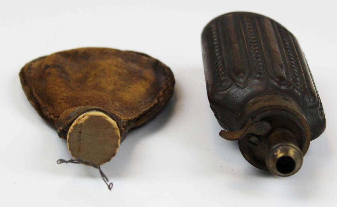 early 19th c brass & copper  powder flask - 3