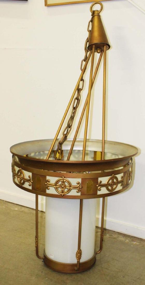 6 Art Deco metal and glass light fixtures