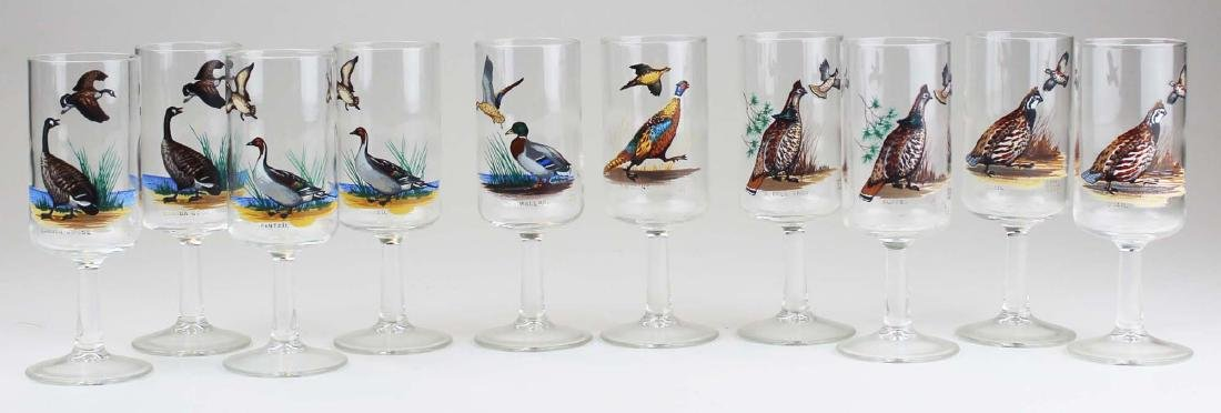 13 stemmed glasses with game birds - 2