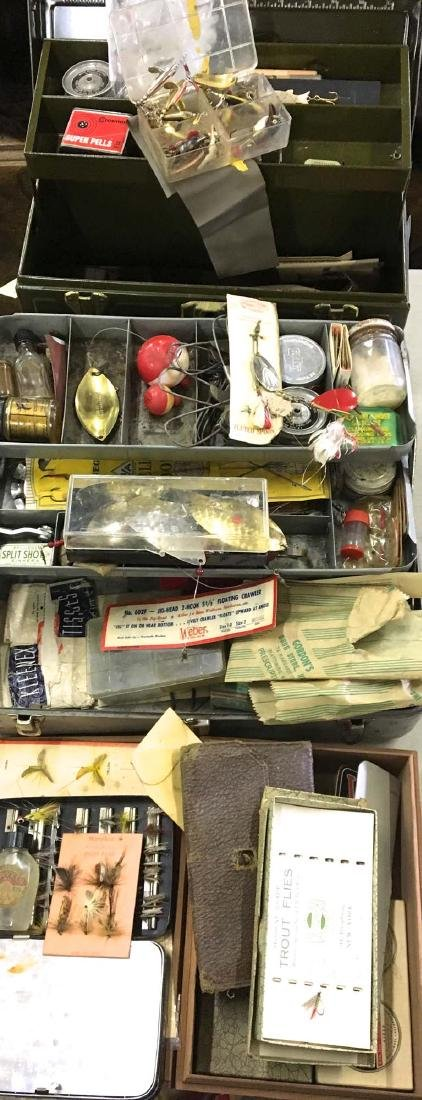 3 Tackle boxes of vintage ca. 1960 fishing tackle