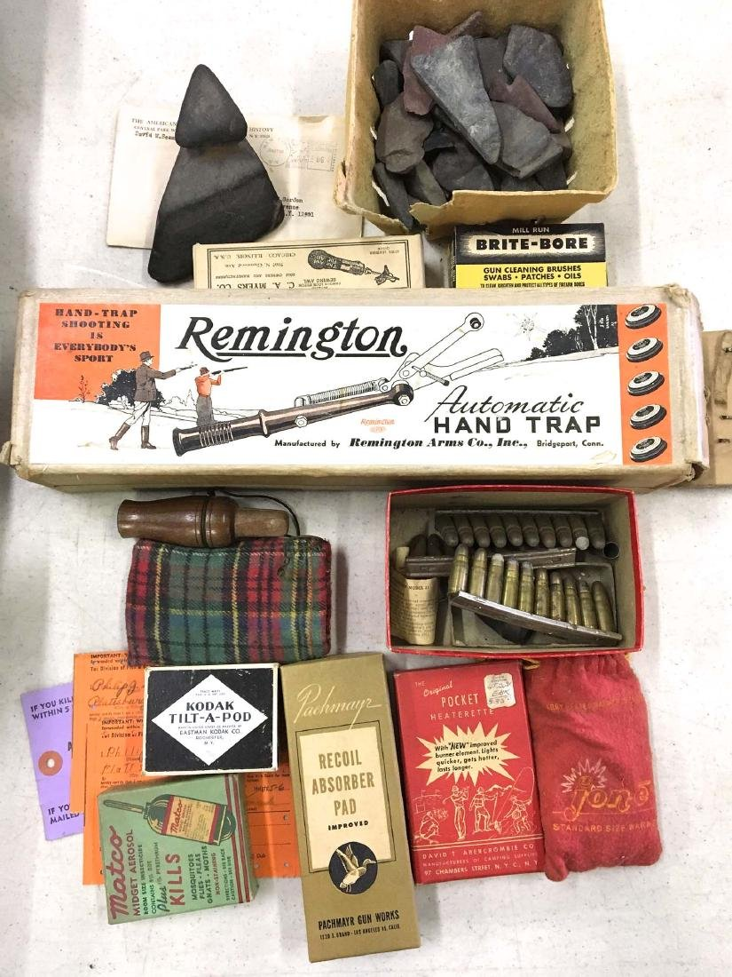 A group of hunting related items in original boxes