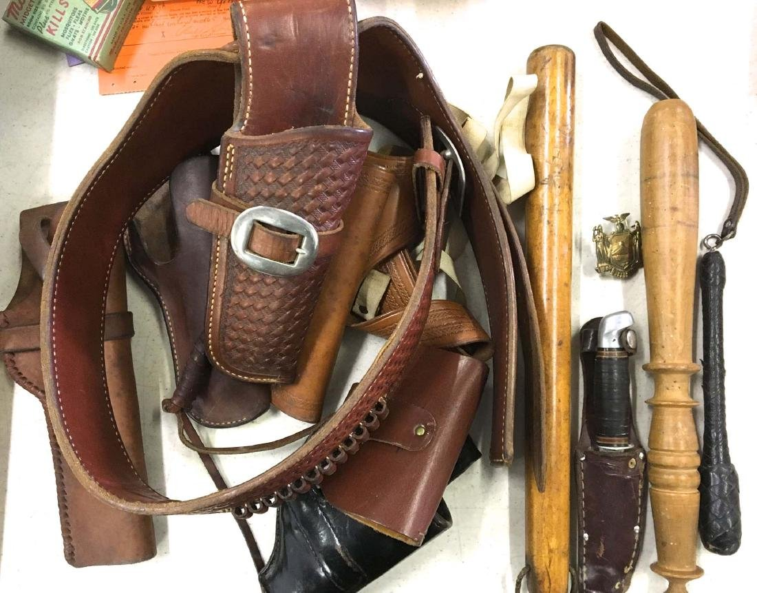 Group of 1950 era leather holsters & billy clubs