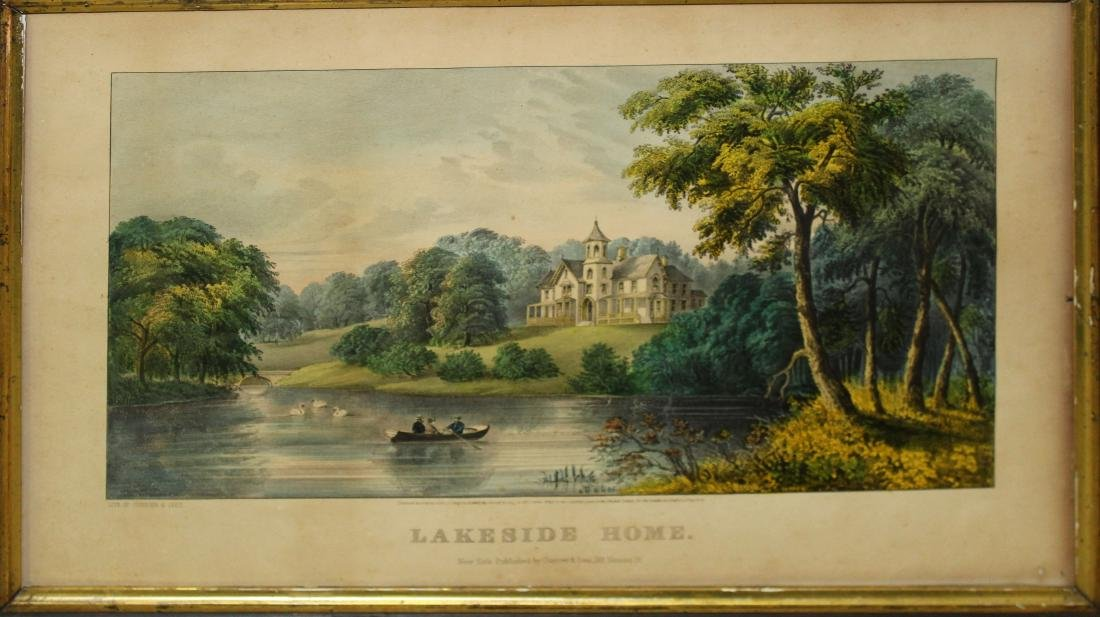 "Currier and Ives Lithograph "" Lakeside Home """