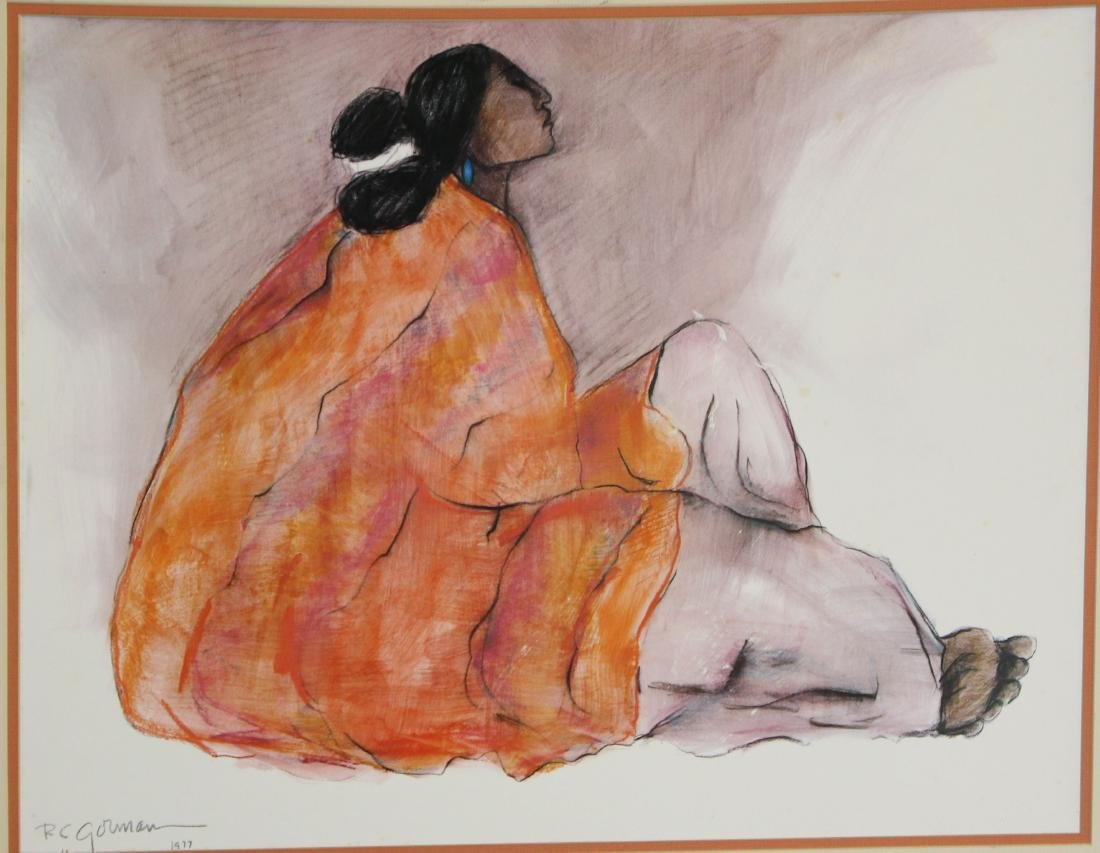 RC Gorman Print of Seated woman