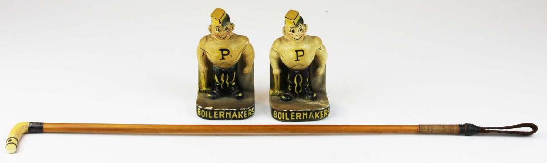 riding crop & pr of Purdue chalk bookends