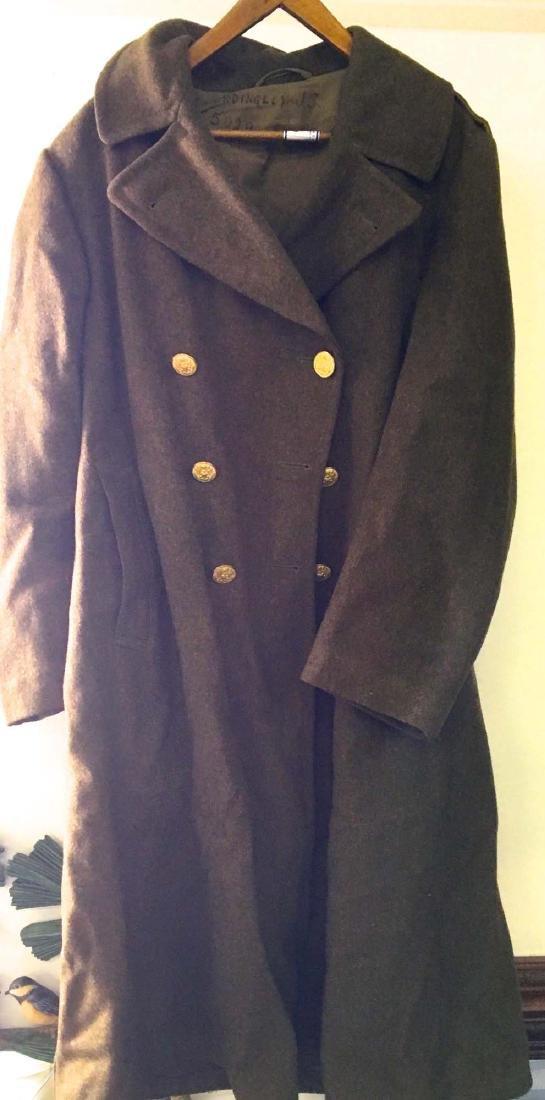 WW II US Army long green wool over coat