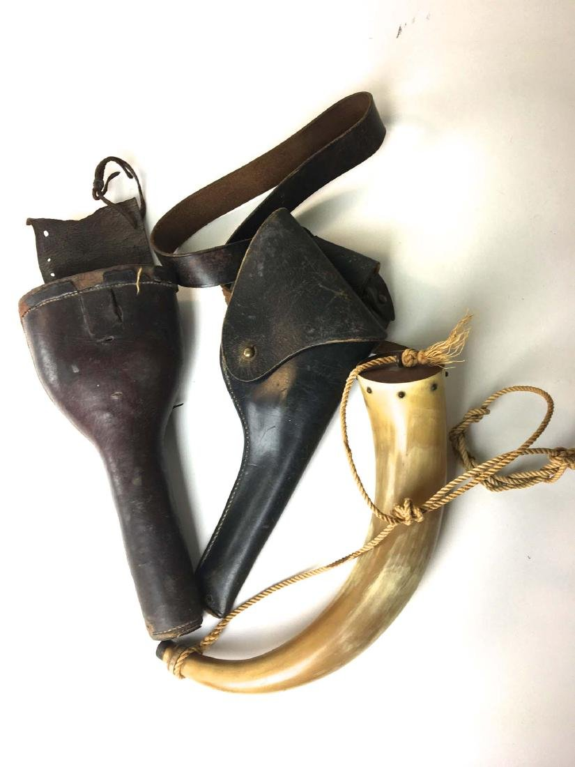 Group of holsters and powder horn.