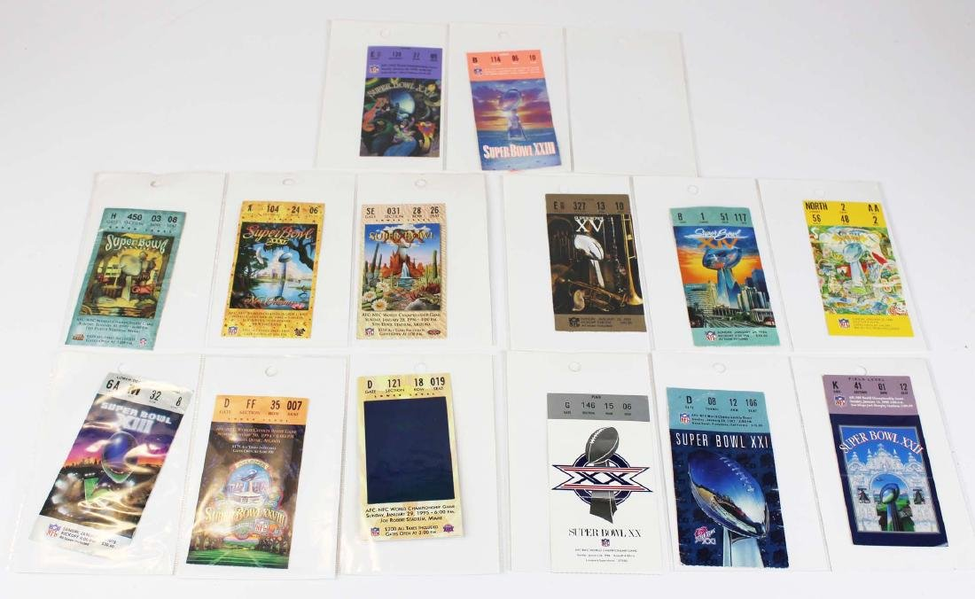 fourteen 1987 to 1999 Superbowl ticket stubs