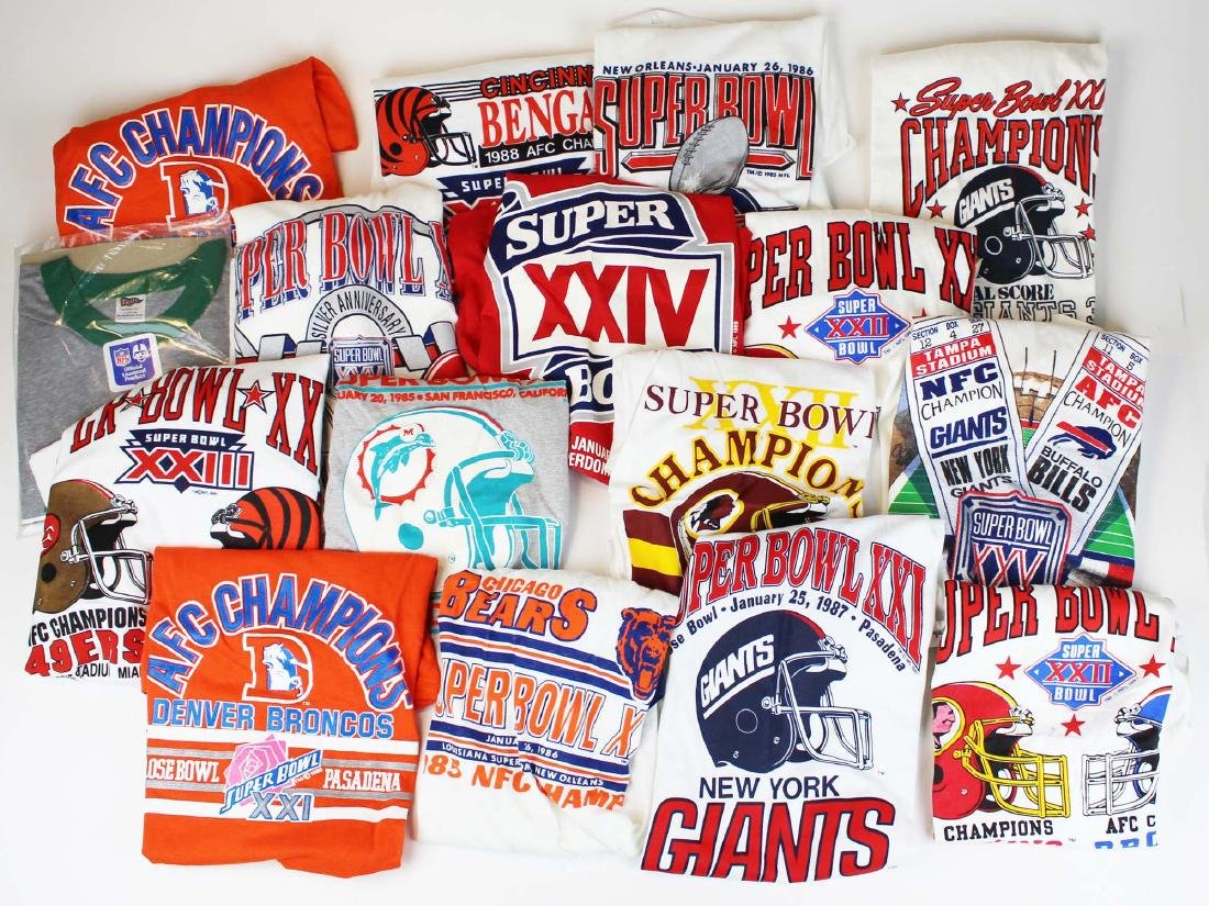 sixteen 1980's- 90's Superbowl tee shirts
