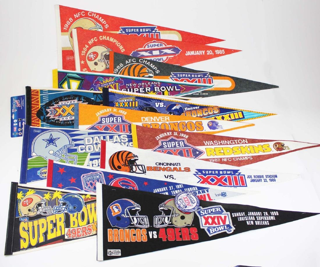thirteen 1980-s- 90's Superbowl pennants
